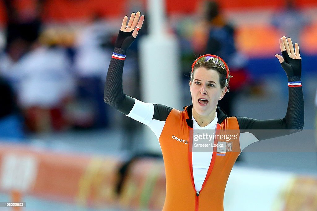 Irene Wust of the Netherlands celebrates during the Women's 3000m Speed Skating event during day 2 of the Sochi 2014 Winter Olympics at Adler Arena Skating Center on February 9, 2014 in Sochi, Russia.
