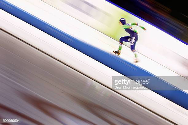 IreneSchouten of Netherlands competes in the 3000m Ladies race during day 1 of the ISU World Cup Speed Skating held at Thialf Ice Arena on December...