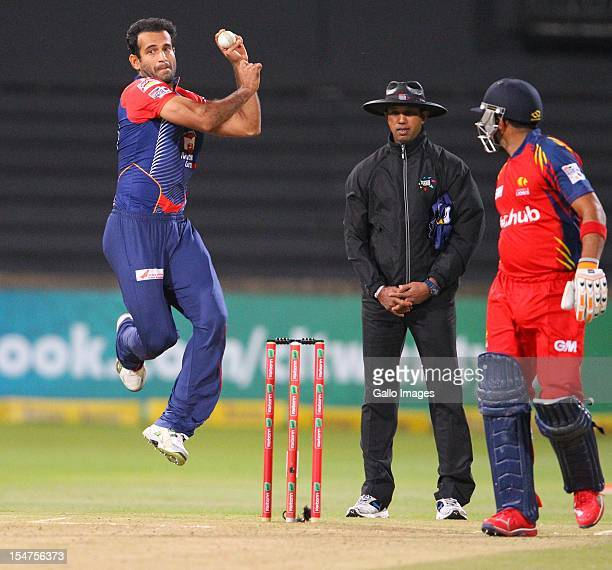 Irfan Pathan bowls during the Karbonn Smart CLT20 Semi Final match between bizhub Highveld Lions and Delhi Daredevils at Sahara Stadium Kingsmead on...