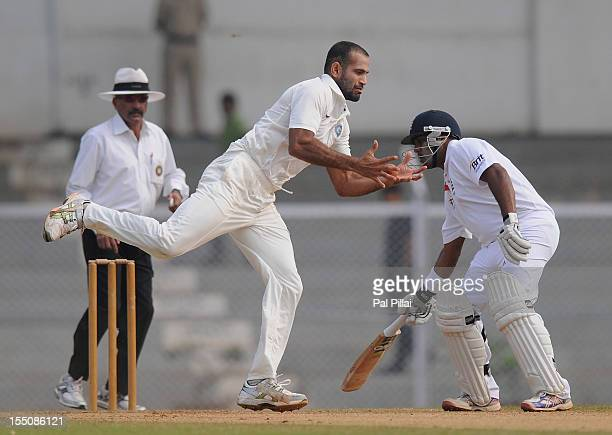 Irfan Pathan of India 'A' tries to stop a ball of his own bowling during the final day of the first practice match between England and India 'A' at...