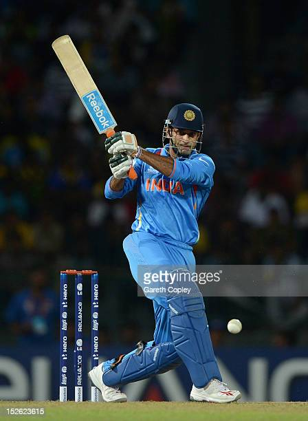 Irfan Pathan of India bats during the ICC World Twenty20 2012 Group A match between England and India at R Premadasa Stadium on September 23 2012 in...