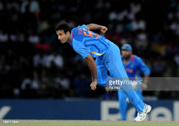 Irfan pathan of India bowls during the ICC T20 World Cup Super Eight group 2 cricket match between Pakistan and India held at R Premadasa Stadium on...