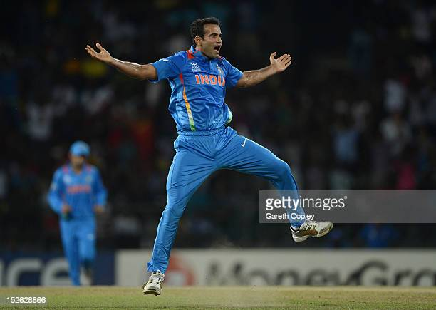 Irfan Pathan of India celebrates dismissing Alex Hales of England during the ICC World Twenty20 2012 Group A match between England and India at R...