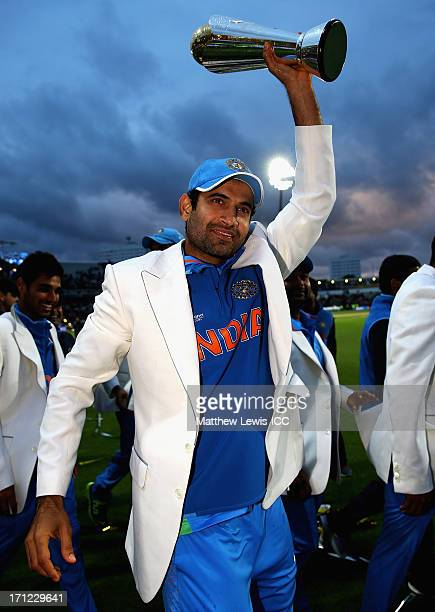 Irfan Pathan of India celebrates his teams win over England during the ICC Champions Trophy Final between England and India at Edgbaston on June 23...