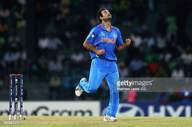 Irfan Pathan of India celebrates the wicket of Shafiqullah during the ICC World Twenty20 match Group A match between India and Afghanistan at R...