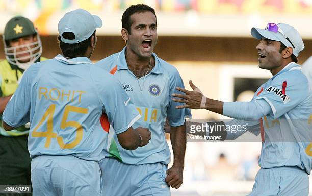Irfan Pathan of India celebrates the wicket of Yasir Arafat of Pakistan for 15 runs during the Twenty20 Championship Final match between Pakistan and...