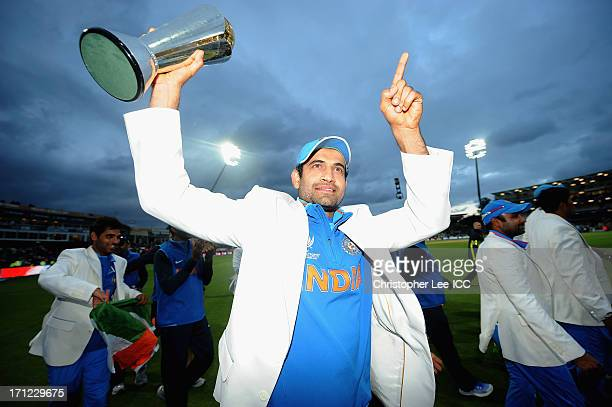 Irfan Pathan of India celebrates their victory with the Champions Trophy after the ICC Champions Trophy Final match between England and India at...