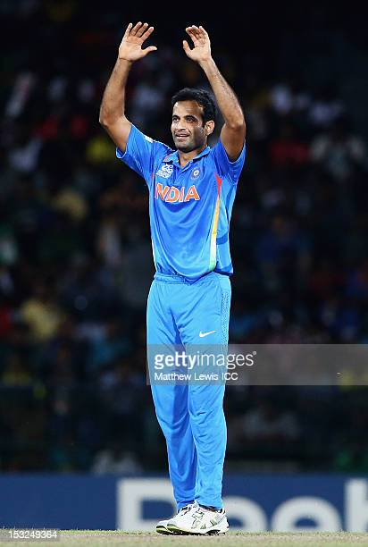 Irfan Pathan of India looks on during the ICC World Twenty20 2012 Super Eights Group 2 match between India and South Africa at R Premadasa Stadium on...