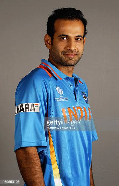 Irfan Pathan of India poses during an India Portrait Session at the Hyatt Hotel ahead of the ICC Champions Trophy at Edgbaston on May 30 2013 in...