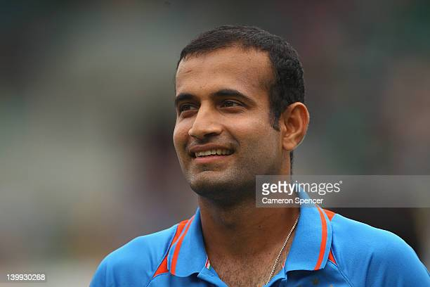 Irfan Pathan of India smiles during the One Day International match between Australia and India at the Sydney Cricket Ground on February 26 2012 in...