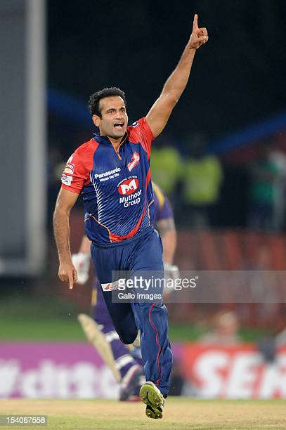 Irfan Pathan of the Daredevils celebrates capturing the wicket of Manvinder Bisla of the Knight Riders during the Karbonn Smart CLT20 match between...