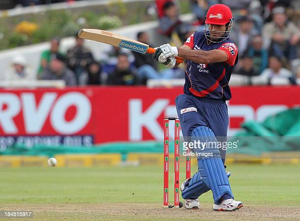 Irfan Pathan of the Delhi Daredevils in action during the Champions league twenty20 match between Perth Scorchers and Delhi Daredevils at Sahara Park...