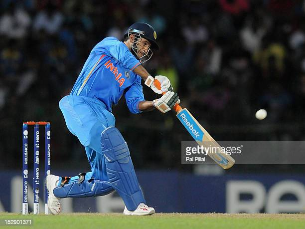 Irfan Pathanof India bats during the ICC World Twenty20 2012 Super Eights Group 2 match between Australia and India at R Premadasa Stadium on...