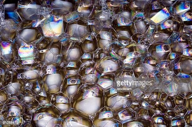 Irisieren soap bubbles close-up