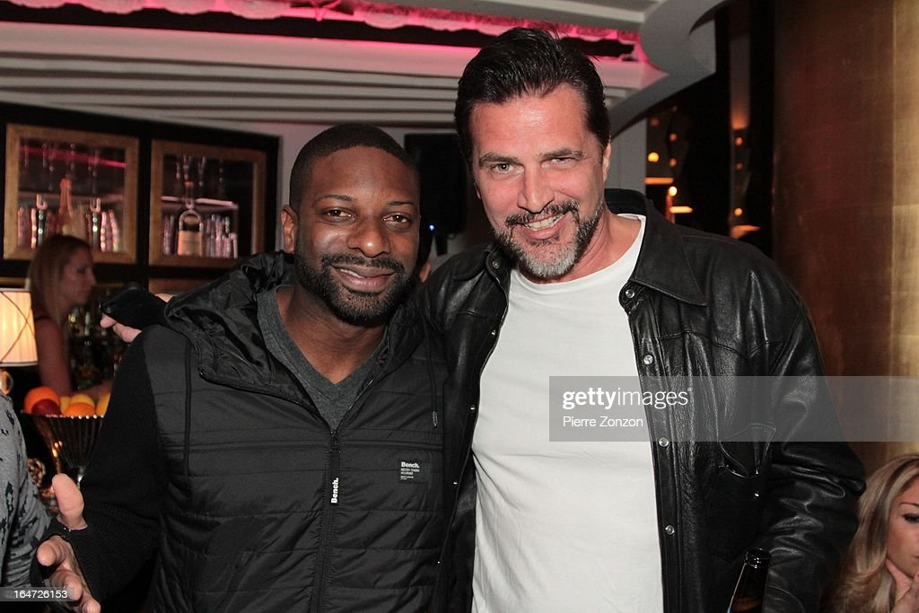 <a gi-track='captionPersonalityLinkClicked' href=/galleries/search?phrase=DJ+Irie&family=editorial&specificpeople=558947 ng-click='$event.stopPropagation()'>DJ Irie</a> and & Actor John Enos at Dore Restaurant and Lounge on March 27, 2013 in Miami Beach, Florida.