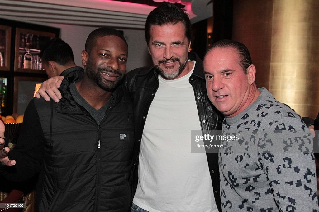 DJ Irie and Actor John Enos & South Beach Promoter Tommy Pooch at Dore Restaurant and Lounge on March 27, 2013 in Miami Beach, Florida.