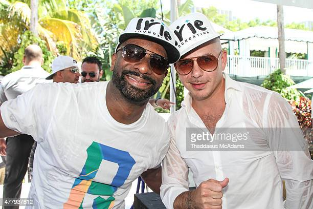 DJ Irie and Pitbull participates in The 11th Annual Irie Weekend on June 20 2015 in Miami Beach Florida