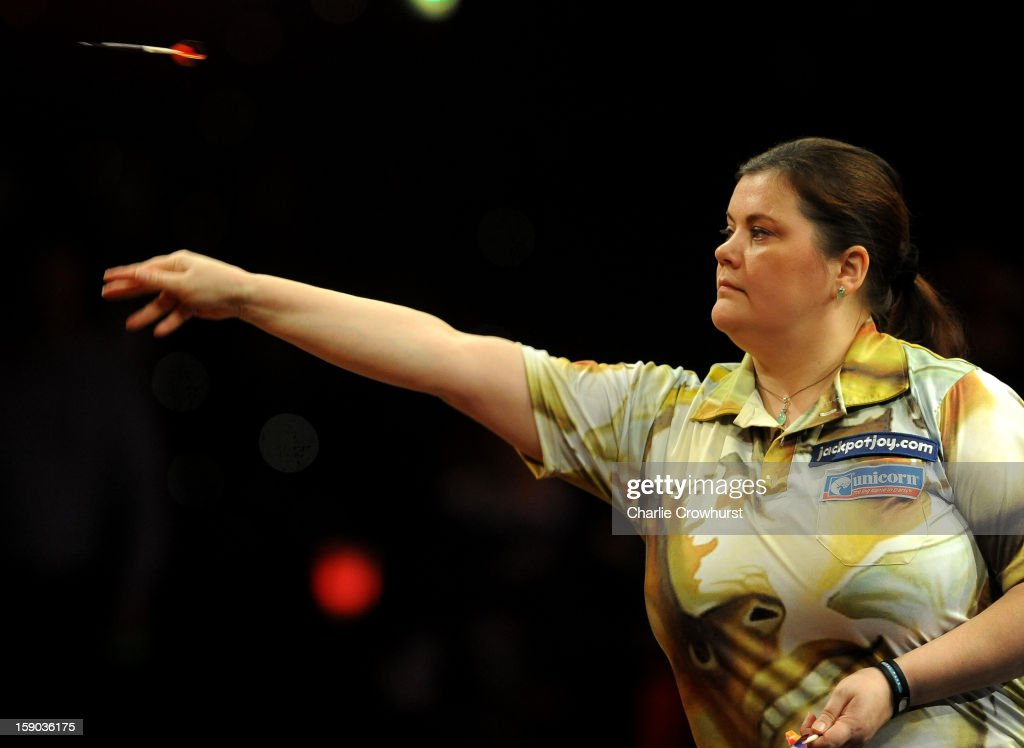 Irina Armstrong of Germany in action during her Quarter Final match against Sharon Prins of The Netherlands on day two of the BDO Lakeside World Professional Darts Championships at Lakeside Country Club on January 06, 2013 in London, England.