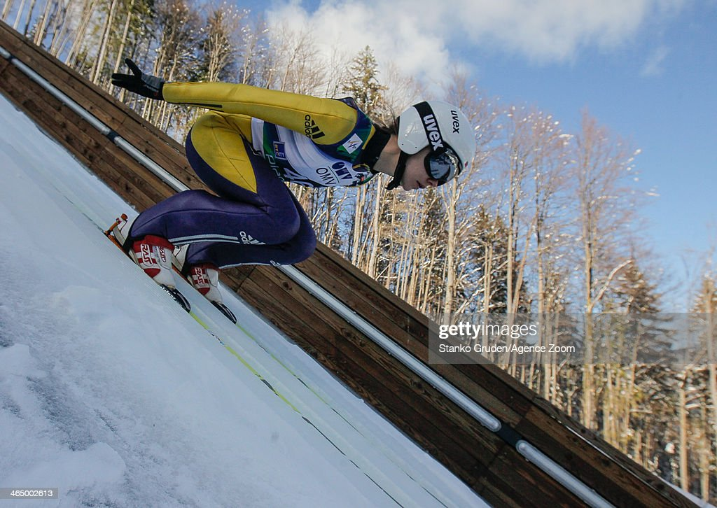 Irina Avvakumova of Russia competes during the FIS Ski Jumping World Cup Women's HS95 on January 25, 2014 in Planica, Slovenia.