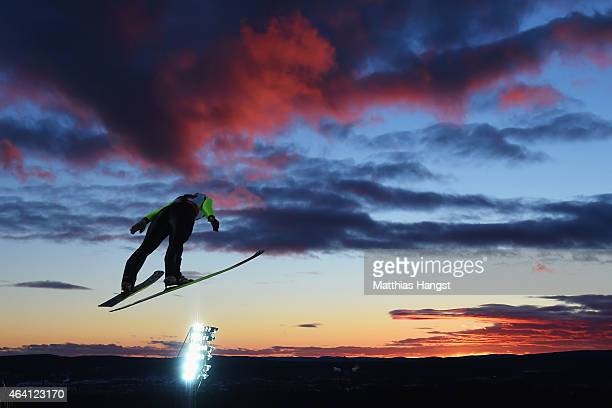 Irina Avvakumova of Russia competes in the Mixed Team HS100 Normal Hill Ski Jumping during the FIS Nordic World Ski Championships at the Lugnet venue...