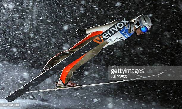 Irina Avvakumova of Russia jumps during the first round of the women's skijumping World Cup Zao meet in Yamagata prefecture on January 20 2017 / AFP...