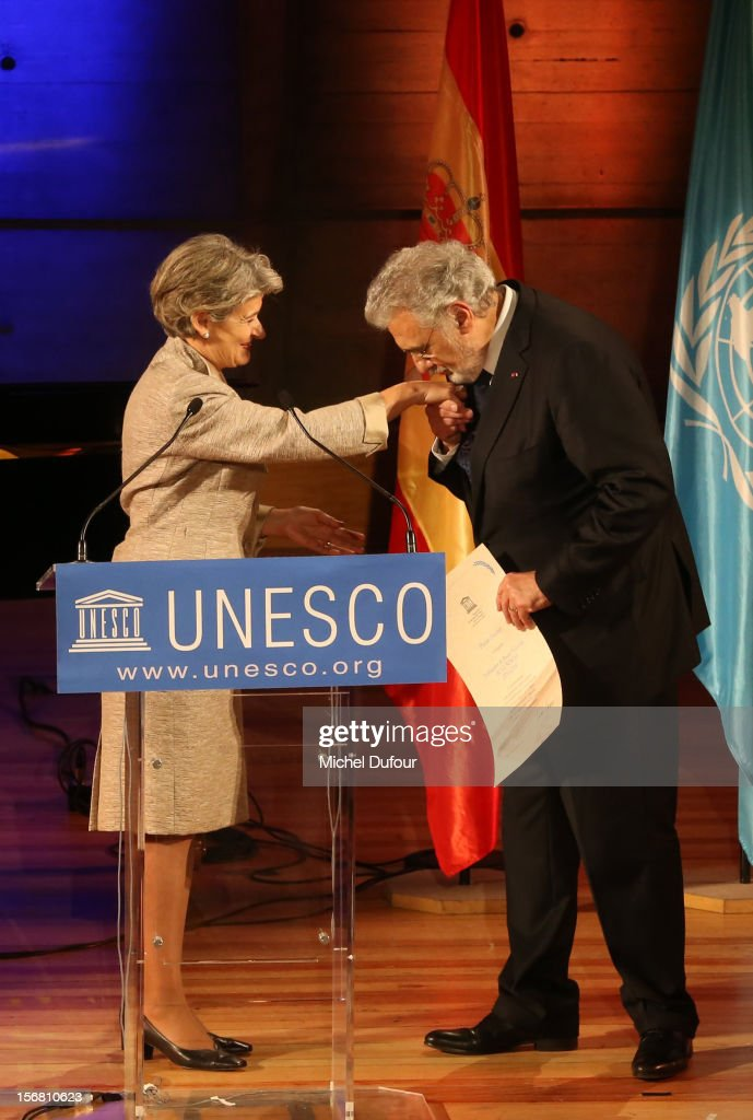 Irina Bokova and <a gi-track='captionPersonalityLinkClicked' href=/galleries/search?phrase=Placido+Domingo&family=editorial&specificpeople=204571 ng-click='$event.stopPropagation()'>Placido Domingo</a> attend the ceremony naming <a gi-track='captionPersonalityLinkClicked' href=/galleries/search?phrase=Placido+Domingo&family=editorial&specificpeople=204571 ng-click='$event.stopPropagation()'>Placido Domingo</a> Goodwill Ambassador of UNESCO at UNESCO on November 21, 2012 in Paris, France.