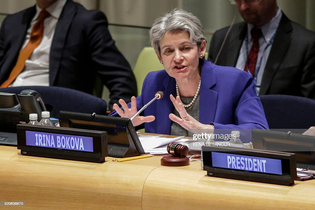 Irina Bokova, Director-General of UNESCO, speaks during the first-ever hearings of candidates seeking to become the next secretary-general at UN headquarters in New York on April 12, 2016. Over the next three days, eight contenders are expected to take the podium before the General Assembly's 193 nations to lay out their vision for the job and answer questions. The hearings are part of a broad push for transparency in the selection of Ban Ki-moon's successor, who will lead an organization of 40,000-plus employees with a budget of $10 billion. BETANCUR
