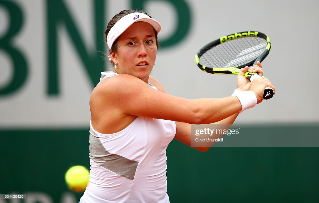 <a gi-track='captionPersonalityLinkClicked' href=/galleries/search?phrase=Irina+Falconi&family=editorial&specificpeople=7161848 ng-click='$event.stopPropagation()'>Irina Falconi</a> of the United States plays a backhand during the Ladies Singles second round match against Pauline Parmentier of France on day five of the 2016 French Open at Roland Garros on May 26, 2016 in Paris, France.