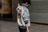 Irina Lakicevic wearing a grey Cocurata bomber jacket seen outside Ralph Lauren during New York Fashion Week Women's Fall/Winter 2016 on February 18...