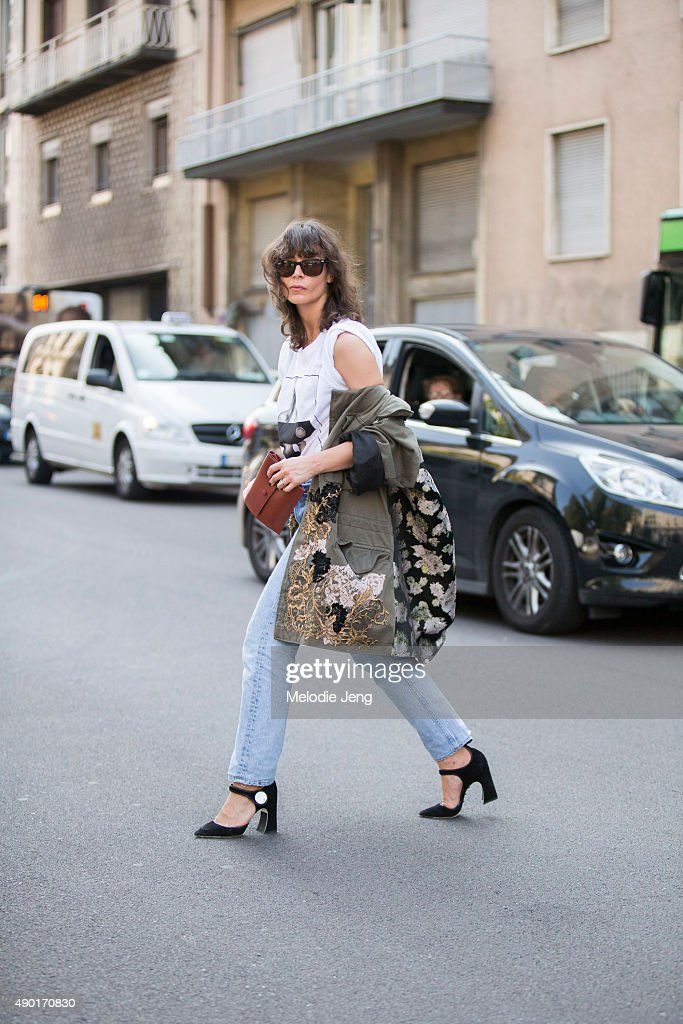 Irina Lakicevic wears a graphic Givenchy white tshirt and dneim jeans during the Milan Fashion Week Spring/Summer 16 on September 26 2015 in Milan...