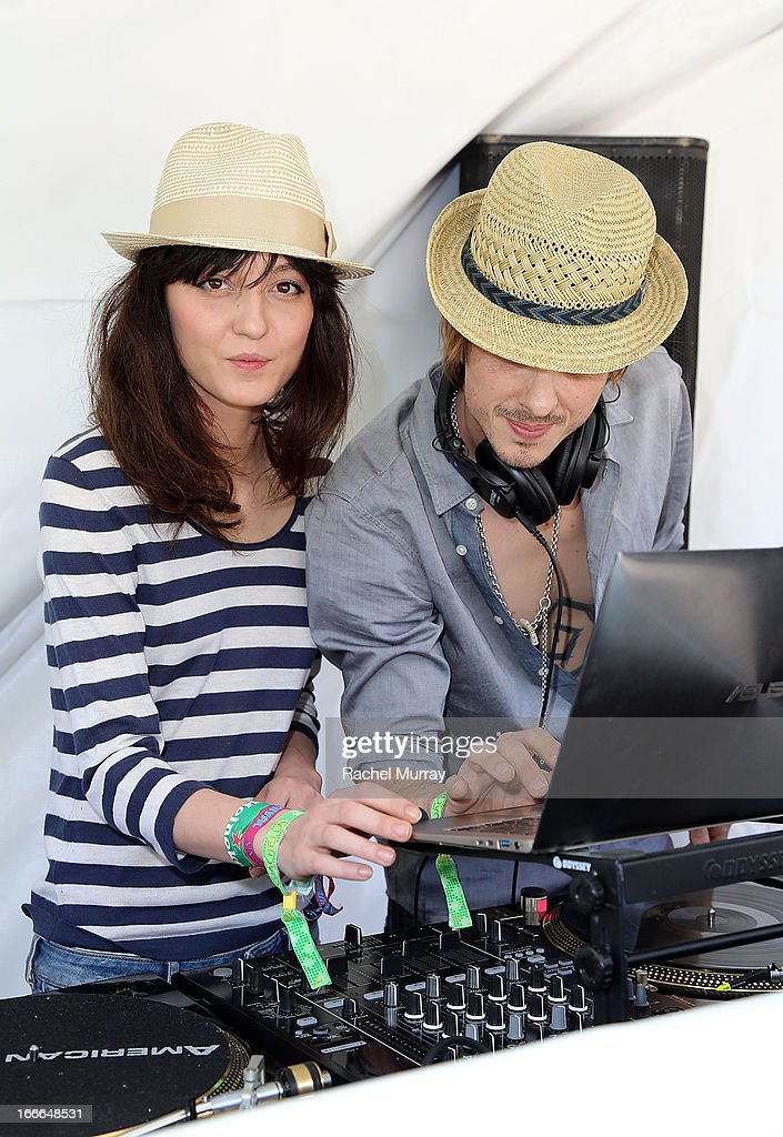 Irina Lazareanu and Keir Knight DJ set during NYLON x BOSS ORANGE Escape House - Day 2 at Lake La Quinta Inn on April 14, 2013 in La Quinta, California.