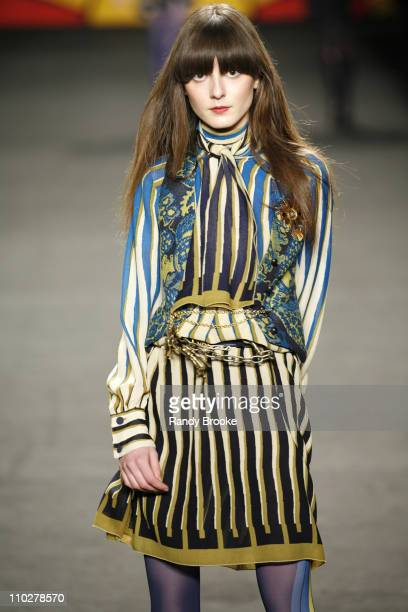 Irina Lazareanu wearing Anna Sui Fall 2006 during Olympus Fashion Week Fall 2006 Anna Sui Runway at Bryant Park in New York City New York United...