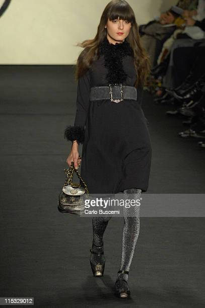 Irina Lazareanu wearing Anna Sui Fall 2007 during MercedesBenz Fashion Week Fall 2007 Anna Sui Runway at The Tent Bryant Park in New York City New...
