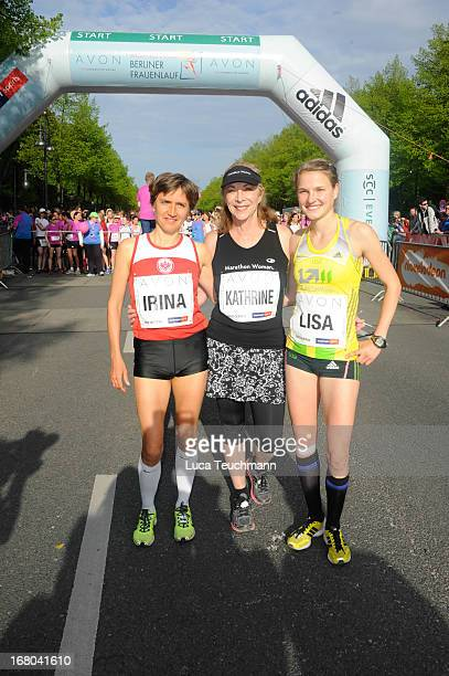 Irina Mikitenko Kathrine Switzer and Lisa Hahner attend the 30th AVON Running Women's run in Tiergarten park on May 4 in Berlin Germany