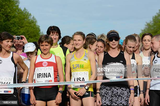 Irina Mikitenko Lisa Hahner and Kathrine Switzer attend the 30th AVON Running Women's run in Tiergarten park on May 4 in Berlin Germany