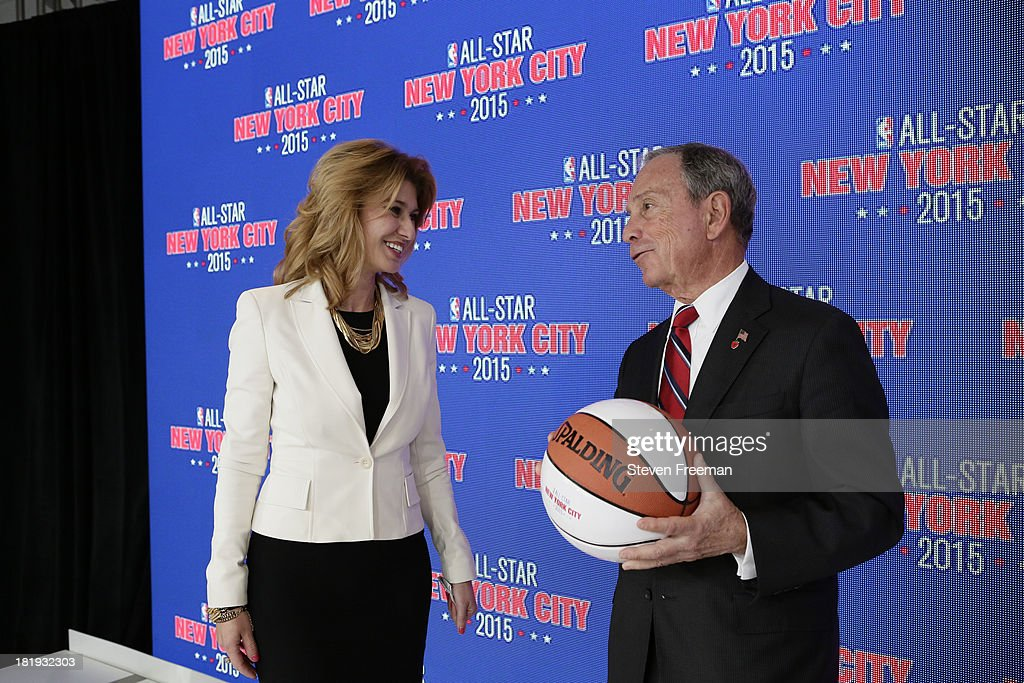 Irina Pavlova, President, ONEXIM Sports and Entertainment Holding USA, speaks to Mayor Mike Bloomberg at a press conference announcing that New York City will be the host of the 2015 NBA All-Star game on September 25, 2013 at the Industria Superstudio in New York City.
