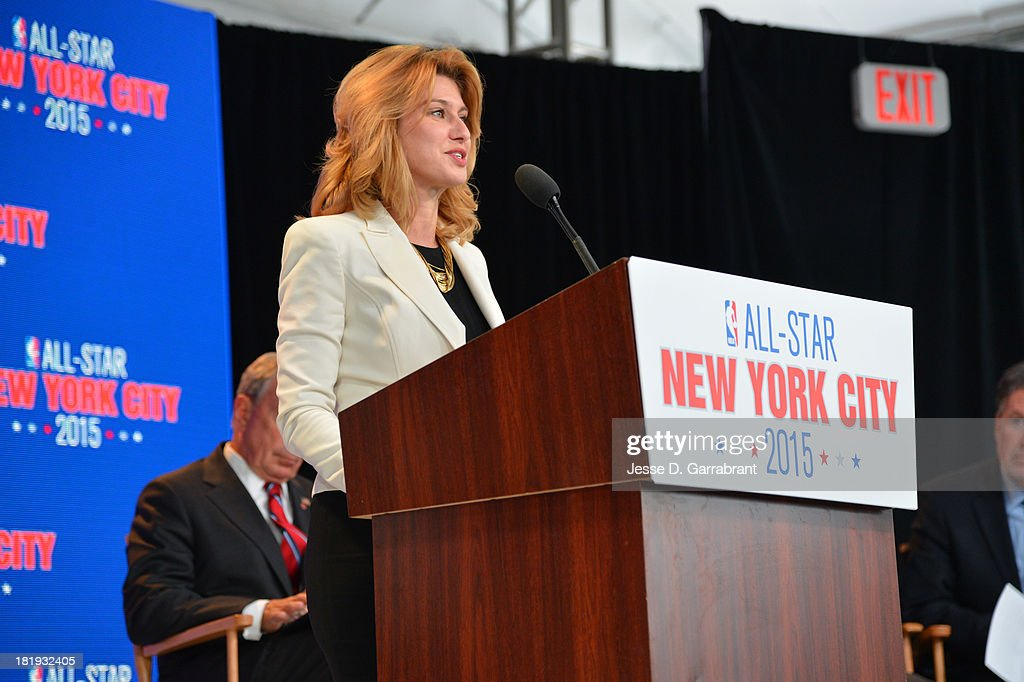 Irina Pavlova, President, ONEXIM Sports and Entertainment Holding USA, speaks at a press conference announcing that New York City will be the host of the 2015 NBA All-Star game on September 25, 2013 at the Industria Superstudio in New York City.