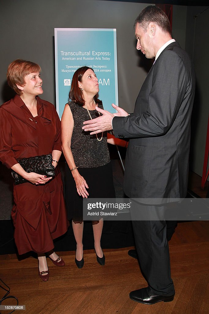 Irina Prokhorov, BAM president Karen Brooks Hopkins and <a gi-track='captionPersonalityLinkClicked' href=/galleries/search?phrase=Mikhail+Prokhorov&family=editorial&specificpeople=4102603 ng-click='$event.stopPropagation()'>Mikhail Prokhorov</a> attend BAM 30th Next Wave Gala at Skylight One Hanson on September 27, 2012 in New York City.