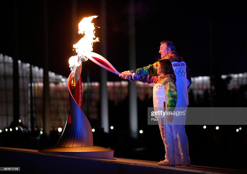 Irina Rodnina and Vladislav Tretyak light the Olympic cauldron during the opening ceremony of the 2014 Winter Olympics in Sochi Russia Friday Feb 7...