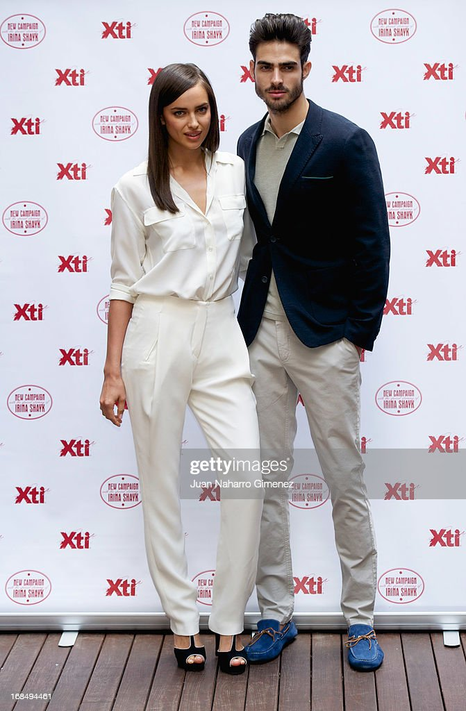 Irina Shayk (L) and Juan Betancourt (R) attend a presentation of the new Xti shoe collection at Hospes Hotel on May 10, 2013 in Madrid, Spain. on May 10, 2013 in Madrid, Spain.