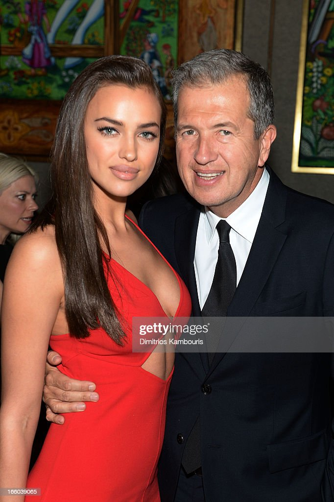 Irina Shayk and Mario Testino attend a dinner in honor of Halle Berry as she joins Michael Kors and the United Nations World Food Programme to help fight world hunger. The event was held at The Pool Room at the Four Seasons on April 6, 2013 in New York City.