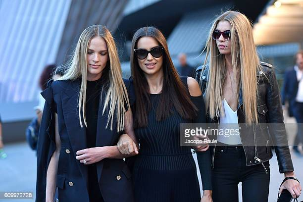 Irina Shayk and Stella Maxwell are seen leaving the Versace show during Milan Fashion Week Spring/Summer 2017 on September 23 2016 in Milan Italy