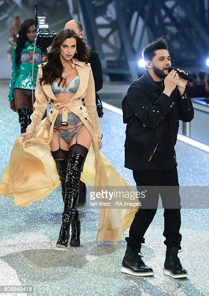 Irina Shayk and the Weeknd on the catwalk during the Victoria's Secret fashion show held at The Grand Palais in Paris France