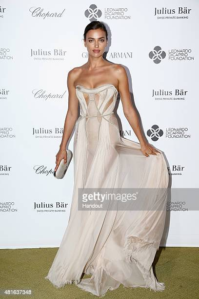 Irina Shayk attends a cocktail reception during The Leonardo DiCaprio Foundation 2nd Annual SaintTropez Gala at Domaine Bertaud Belieu on July 22...