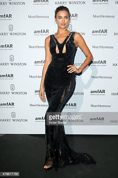Irina Shayk attends the amfAR dinner at the Pavillon LeDoyen during the Paris Fashion Week Haute Couture on July 5 2015 in Paris France