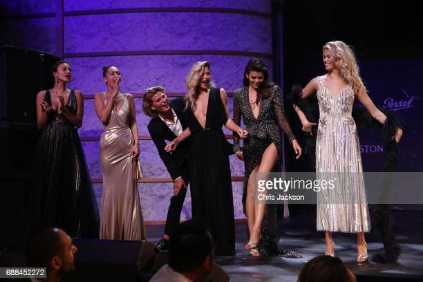 Irina Shayk Bella Hadid Jordan Barrett Jessica Hart and Georgia Fowler on stage at the amfAR Gala Cannes 2017 at Hotel du CapEdenRoc on May 25 2017...
