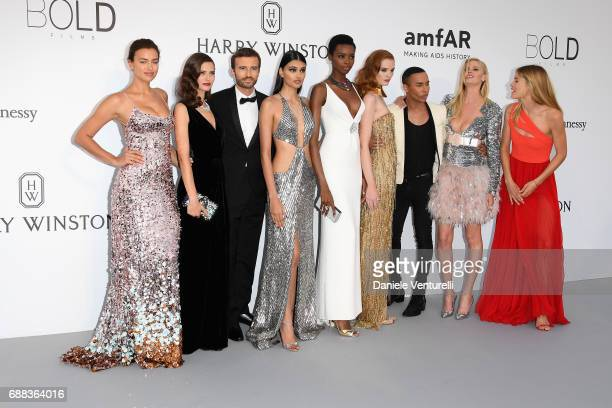 Irina Shayk Bianca Balti a guest Neelam Gill Maria Borges Alexina Graham Olivier Rousteing Lara Stone and Doutzen Kroes arrive at the amfAR Gala...