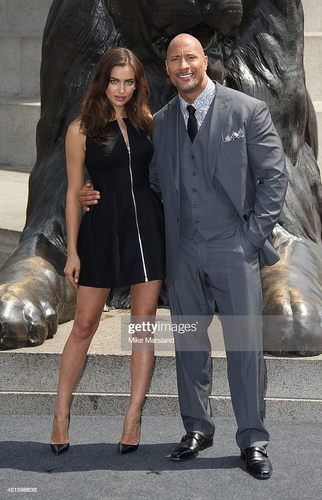 Irina Shayk, Dwayne 'The Rock' Johnson attend a photocall for 'Hercules' on July 2, 2014 in London, England.