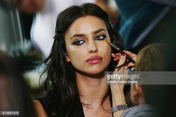 Irina Shayk is seen backstage ahead of the Versace show during Milan Fashion Week Fall/Winter 2016/17 on February 26 2016 in Milan Italy