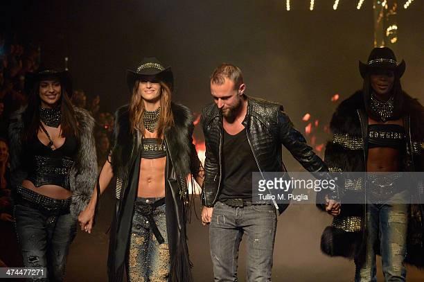 Irina Shayk model Philipp Plein and Naomi Campbell walk the runway during the Philipp Plein show as part of Milan Fashion Week Womenswear...